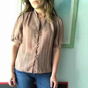 VINTAGE Beige Tan Blouse with buttons puff sleeves